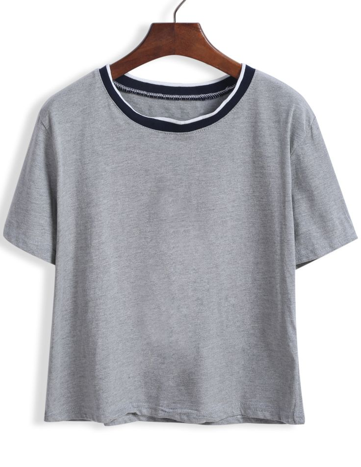 Grey+Short+Sleeve+Contrast+Collar+Crop+T-Shirt+9.00