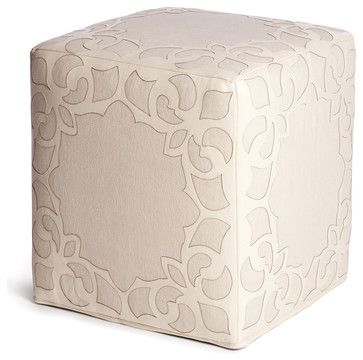 Brighton Cream Leather Linen Contemporary Cube Ottoman - transitional - Ottomans And Cubes - Kathy Kuo Home