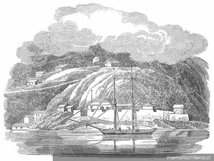 Lámina:  Vista al Puerto de Valparaíso,   1822   Autora:  Mary Graham  Fuente:  Memoria Chilena