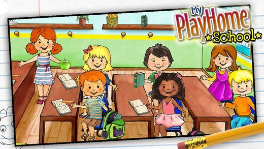 """My PlayHome School ($2.99) from the incredible MyPlayhome series. expands the PlayHome world into the classroom! Explore the school and play at being teacher, experiment in the science room, take lunch in the cafeteria or even mop the corridors! No time limits, scores or power ups. Just free play that powers your child's imagination. """"My PlayHome School"""" is also fully integrated with the original """"My PlayHome"""" & """"My PlayHome Stores"""" apps so you can bring everything back home!"""