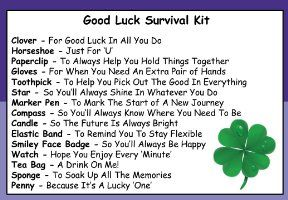 Good Luck Survival Kit In A Can. Humorous Novelty Fun Gift - Present & Card All In One. New Job, Leaving, Emigrating, Moving Away etc. Customise Your Can Colour.:Amazon.co.uk:Kitchen & Home
