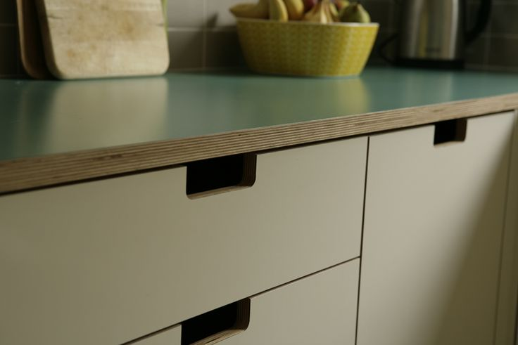 Detail Of Grab Handles And Green Formica And Birch Ply