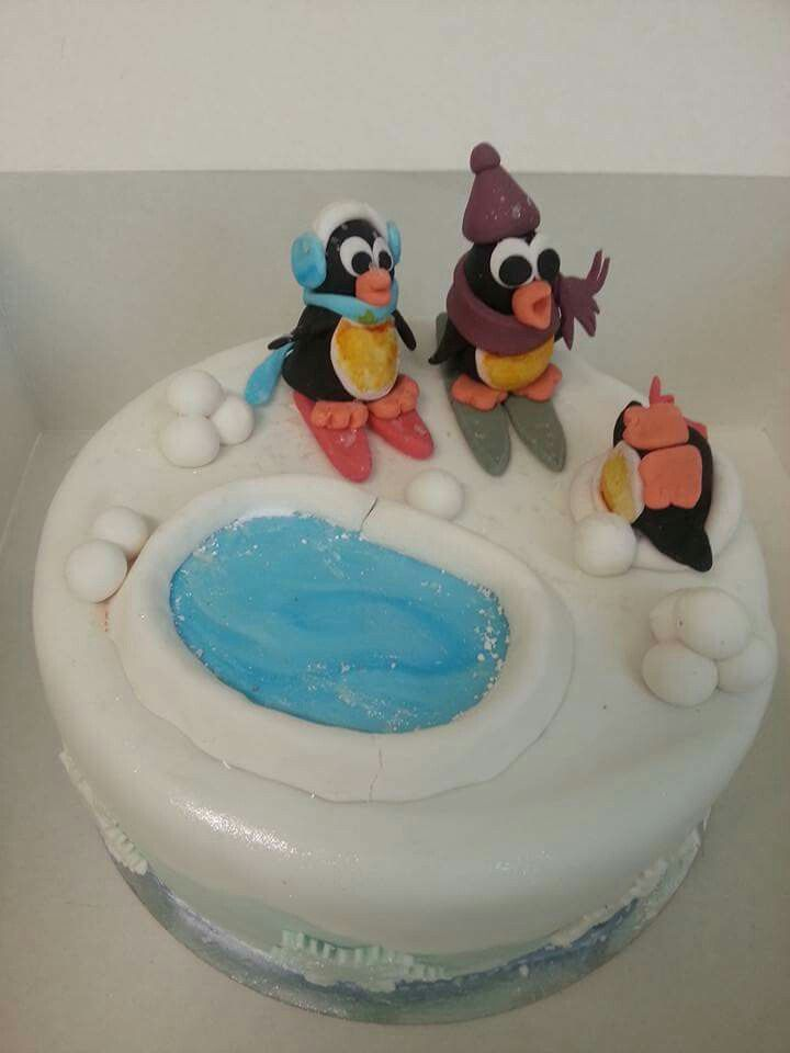 Pinguïns in the snow cake