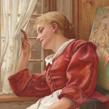 Victorian Woman at Window  Somebodys Coming 1897 Full Color  Illustration by VeejayIllustrated for $32.00