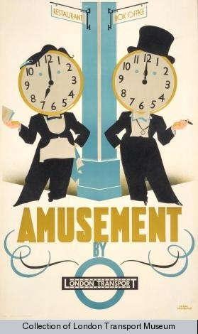 Amusement by London Transport, by Frank Newbould, 1934    Published by London Transport, 1934  Printed by J Weiner Ltd,  Format: Double royal  Dimensions: Width: 635mm, Height: 1016mm  Reference number: 1983/4/3963