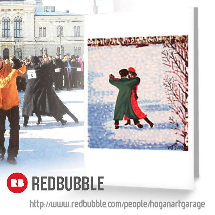 Sold!! :D ...thanks to the person in East Sussex,UK who just bought this 'Snow Tango' greeting card design from my @redbubble  webshop. Funnily enough the Snow Tango World Cup 2017 took part only last weekend here in Finland! Background photo credit:Jari Makinen. #lumitango #snowtango #tango #instatango #artist #art #taide #konst #paintings #handpainted #artistsofinstagram #greetingcards #redbubblecreate #redbubble #dancers #dancing #finland #artcards #finnishwinter #winter #dance