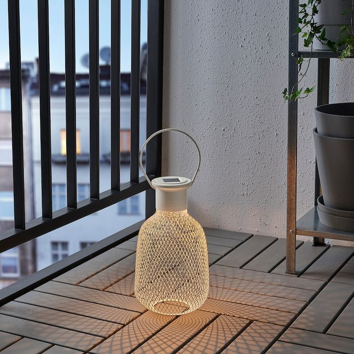 SOLVINDEN LED solar powered lantern outdoor, mesh white in