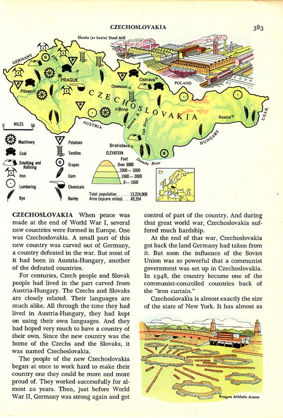 Vintage Map of CZECHOSLOVAKIA by thevintagemode on Etsy, $2.95