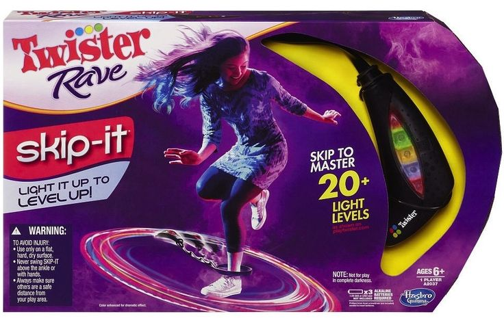 The Skip-It is now the Skip-It Twister Rave. Is this a symptom of our ADD society? We can't just have a Skip-It, it also has to be a bad '90s party and another game?
