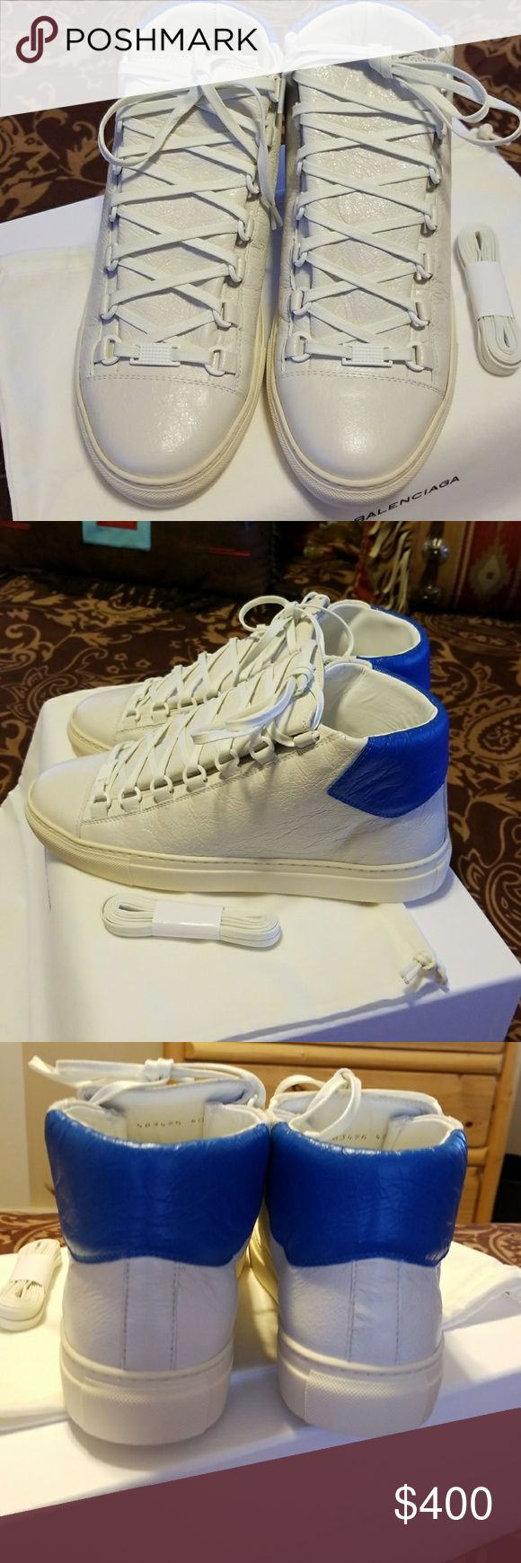 Balenciaga Arena Sneakers MENS ARENA BALENCIAGAS.MANUFACTURED WITH THE HIGHEST OF QUALITY..WHITE WITH   A SPLASH OF BLUE. **BRAND NEW NEVER WORN**COMESXWITH BOX,DUST BAG,EXTRA SHOE STRINGS.. Balenciaga Shoes Sneakers