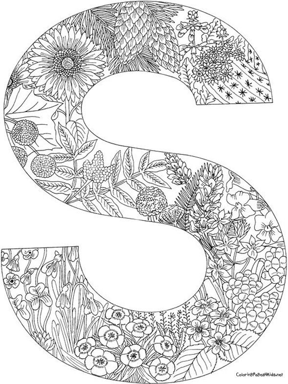 54 best coloriages de lettres images on Pinterest Alphabet letters - best of coloring pages for adults letter a