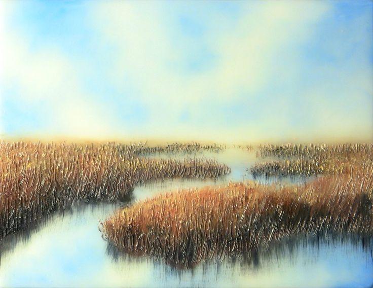 "Little Marsh, Linda Wein 2014, Encausic and Oils on Cradled Board, 6"" x 8"" $200"