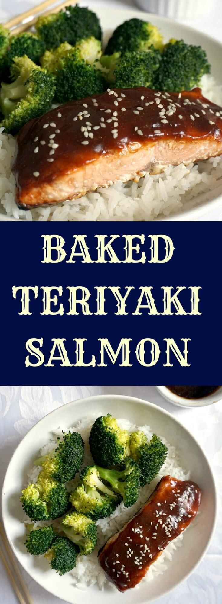Baked teriyaki salmon with garlicky broccoli on a bed of rice, a delicious Japanese recipe that is healthy and nutritious. The homemade teriaky sauce is way better than any store-bought sauce, and it gives the salmon a delightful Asian touch. Ready in about 20 minutes.