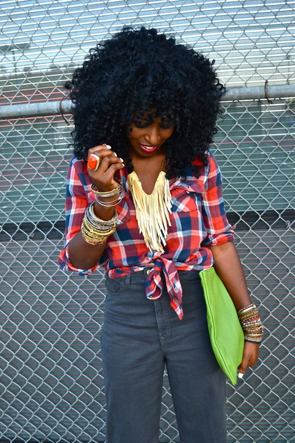 @Style Pantry How stinkin cute is she! #plaid #highwaist #jewerly