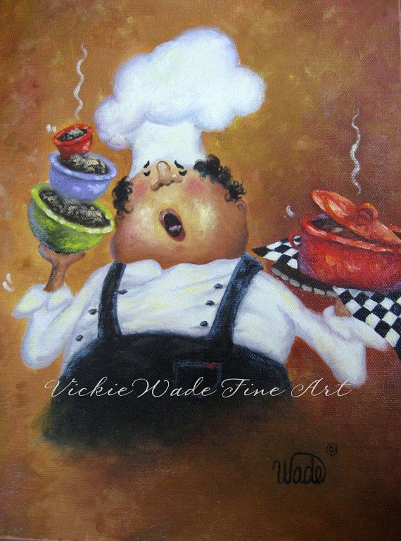 Singing Chef Print fat chef kitchen art by VickieWadeFineArt, $26.00