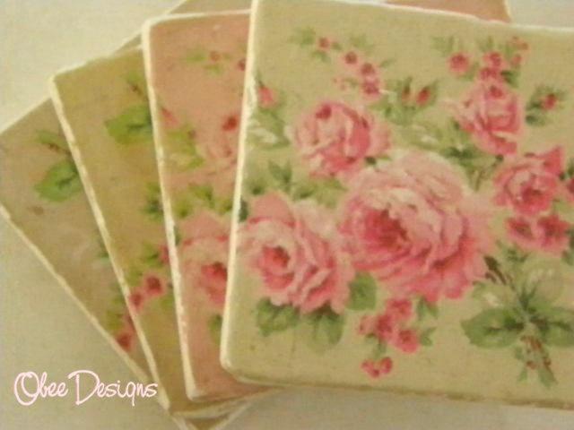 Set of 4 Shabby Chic Pastel Cabbage ROSES Tumbled Marble Coasters. $22.00, via Etsy.