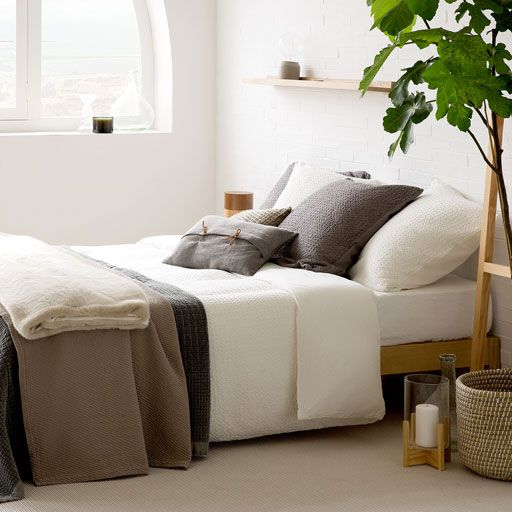 White Waffle Washed Percale Bedding