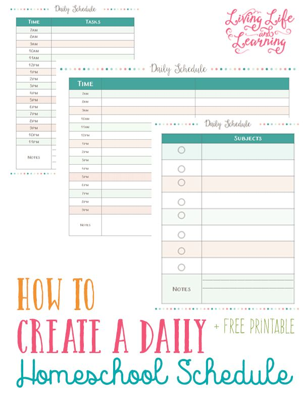 Free Printables for Homeschooling Moms: Goals and Daily Schedule