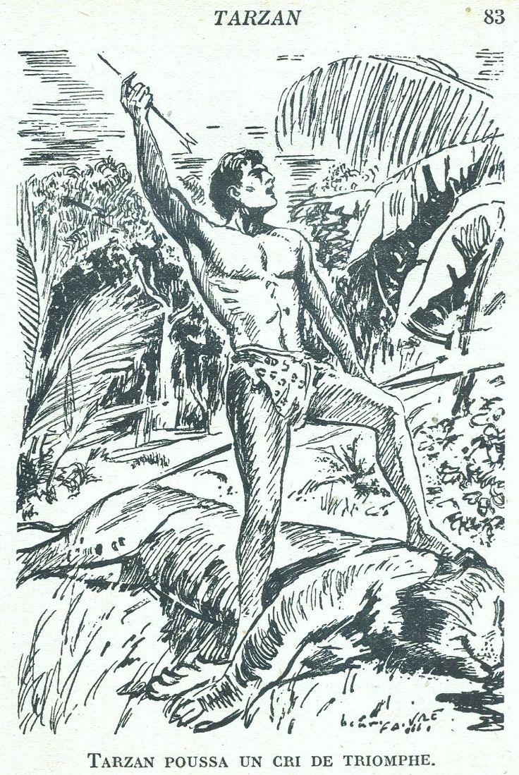 Illustrateur : Henri Faivre Tarzan, Edgar Rice Burroughs, trad. Pierre Cobor, Hachette Bibliothèque de la Jeunesse 3e Série 1946. Broché avec jaquette illustrée et Illus intérieures.