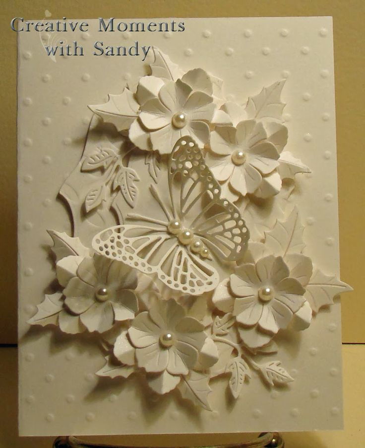 White on White Butterfly with Flowers: