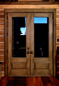 Patio Doors ~ This would look nice with our rustic feel!