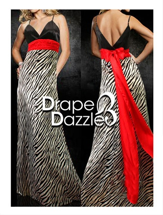 Zebra Maxi with Red Band   Ribbon Optional.   Size: 6-8  Price: $39.95