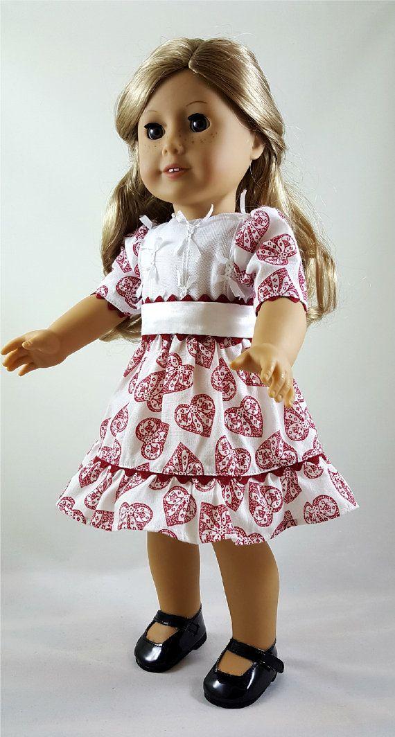 "Ruffle Heart T-Shirt 18 /""  Doll Clothes Fits American Girl Dolls"