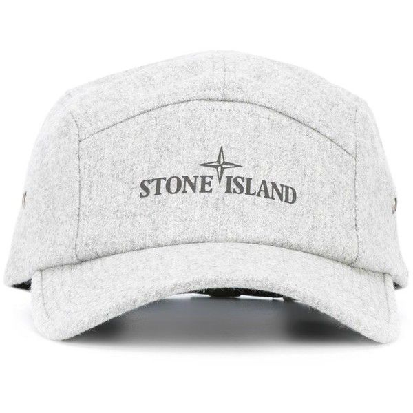 Stone Island logo cap (26.955 HUF) ❤ liked on Polyvore featuring men's fashion, men's accessories, men's hats, grey and mens caps and hats