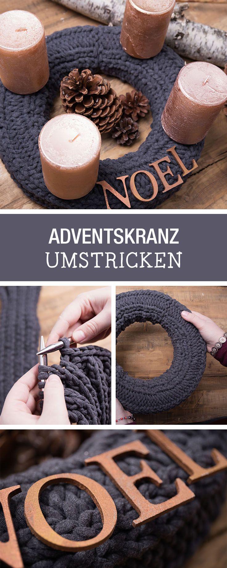 DIY-Anleitung: Weihnachtlichen Adventskranz umstricken, Deine selbstgemachte Weihnachtsdeko / DIY tutorial: knitting advent wreath, your handmade christmas decor via DaWanda.com