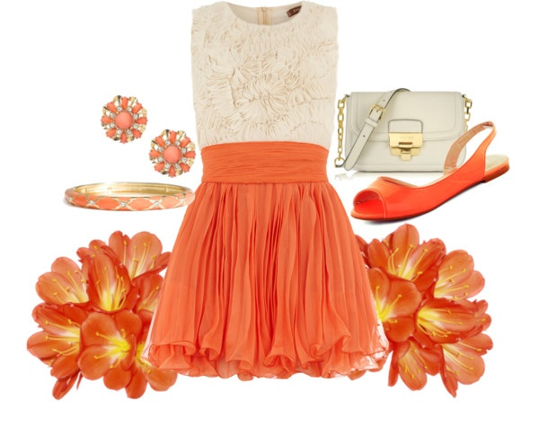 """Orange and white summer dress"" by lovelyingreen on Polyvore"