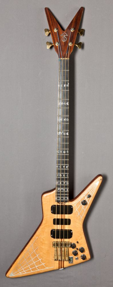 "The WHO | Bassist ""John Entwistle's - BORIS THE SPIDER"" ALEMBIC Explorer 4-string Spyder Bass with V-shaped Headstock and Spider Web-Silver Inlay.                                                         ✦""Nicknamed 'ALEMBIC EXPLOITER' by ALEMBIC and John, due to it's obvious similarity to a Gibson Explorer.""                                      Gracie Lynn