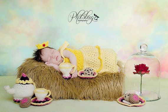 crochet photo prop Disney's Belle from Beauty and the Beast inspired princess dress- size newborn or 0-3months
