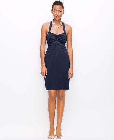 Image of Satin Jersey Strappy Halter Dress