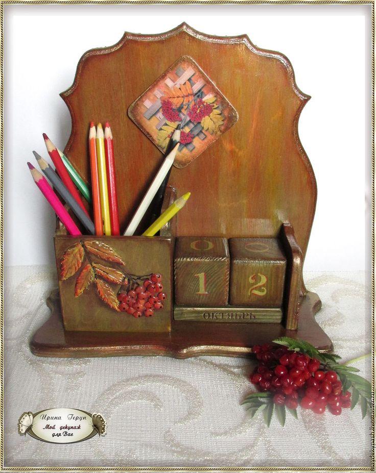 """Купить Вечный календарь с карандашницей """"Рябины гроздья алые"""" - бордовый, вечный календарь"""