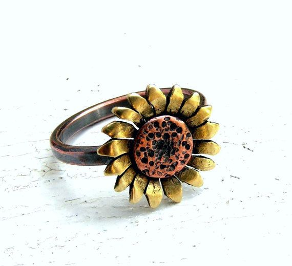 Sunflower Ring Copper and Brass Metalwork - MADE TO ORDER on Etsy, $34.00