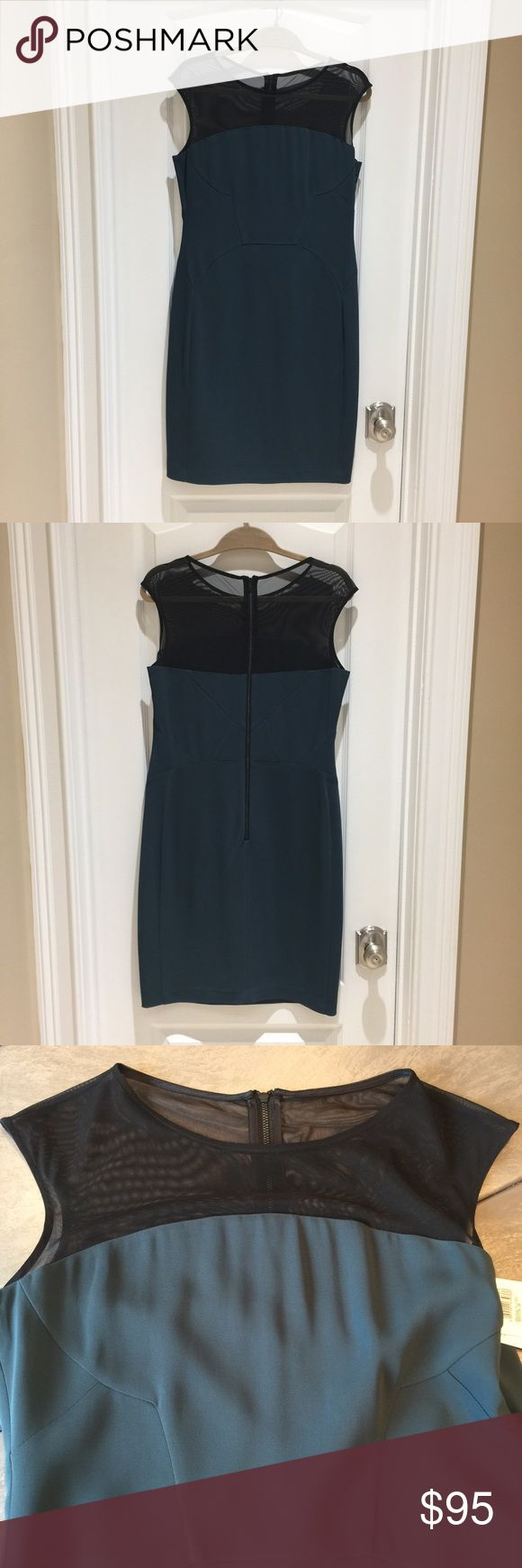 Reiss dress Danique fitted body con in deep emerald with mesh top. Never worn with tags. Reiss Dresses