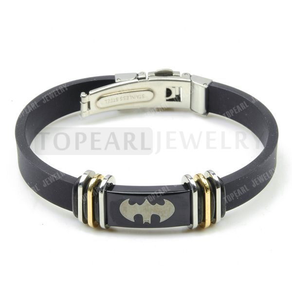 Topearl Jewelry 3pcs Batman Stainless Steel Black Silicone Rubber Bracelet MEB234