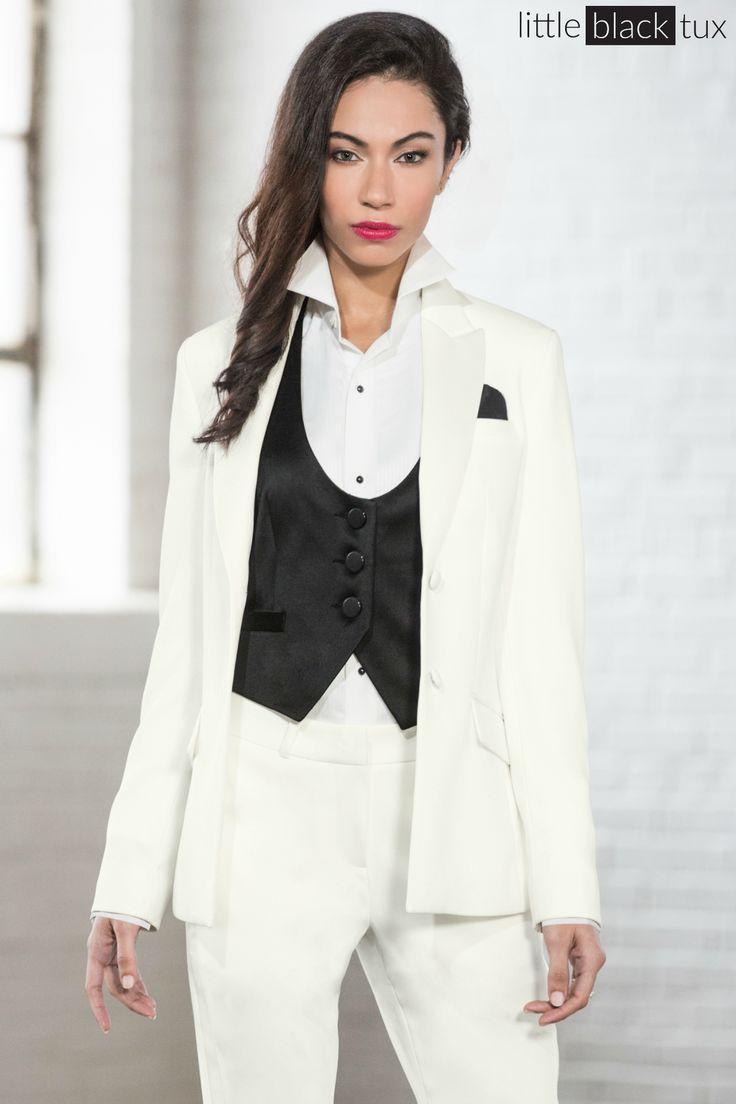 Women's Ivory Diamond White Tuxedo / Ladytux. Peak lapel, slim fit, belt loops, satin lapel, female tuxedo, suit tux, jacket blazer.