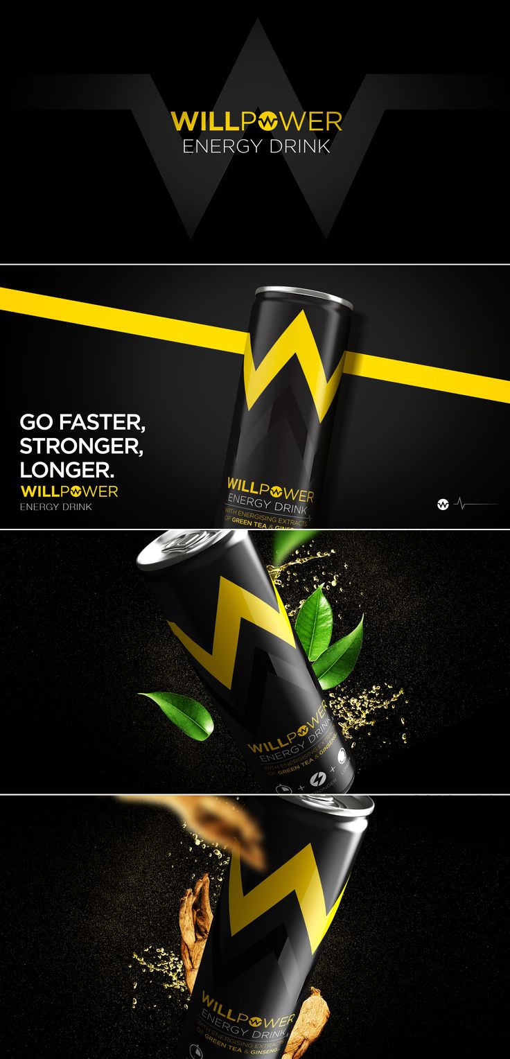 Willpower Energy Drink designed by Design Happy, a strategic packaging & branding design agency based in Kingston Upon Thames, UK. http://www.designhappy.co.uk