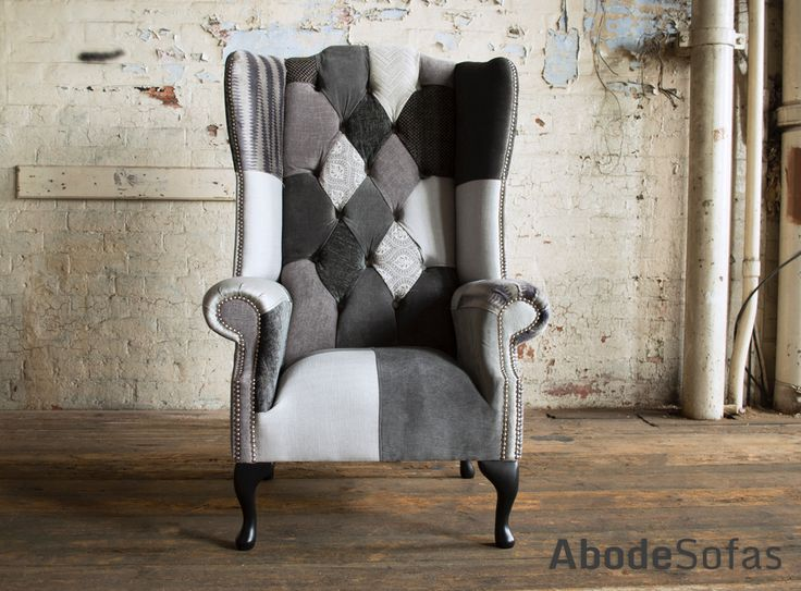 Modern British Handmade Bold Hues of Grey and Patterned #Patchwork Chesterfield Wing #Chair. Totally unique in a range of monochrome fabric.| Abode Sofas