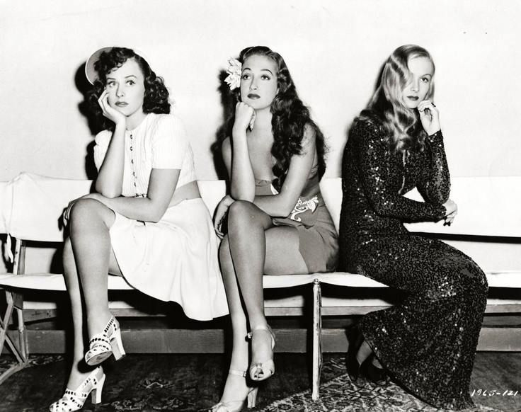Paulette Goddard, Dorothy Lamour, and Veronica Lake, 1942.
