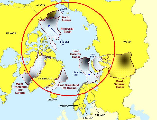 The Arctic Circle showing natural gas resource locations