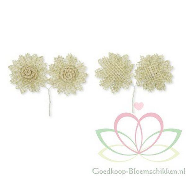 Jute bloemen Gebleekt pakje 6 stuks diameter +/- 5 cm