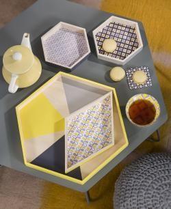 DIY Plateaux graphiques | #DIY #Yellow #Grey #Déco