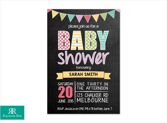Chalkboard and Bunting Baby Shower Invitations - Multi Coloured - Blue Green Lilac Yellow Red Grey - Digital Printable DIY