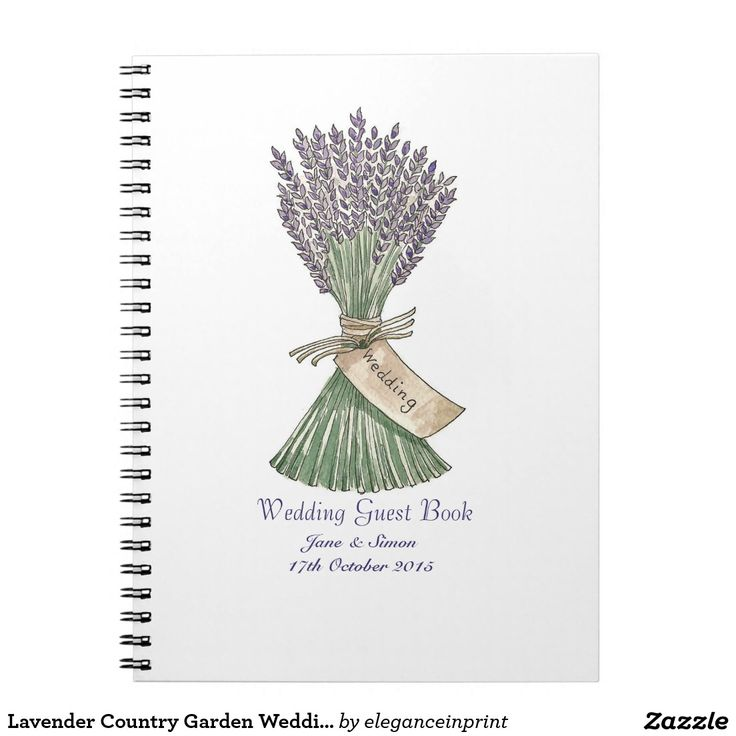 Lavender Country Garden Wedding GuestBook/Notebook Spiral Notebooks