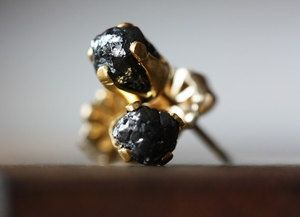 Image of Black Rough Diamond Stud Earrings