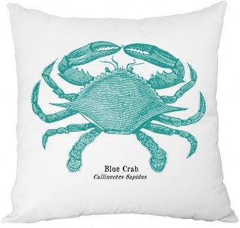 Poduszka dekoracyjna BLUE CRAB - biała
