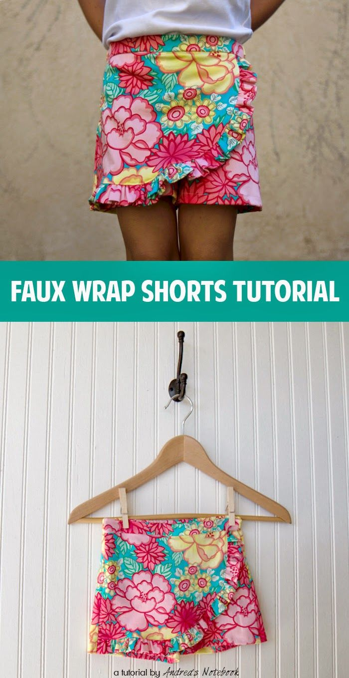 Faux Wrap Shorts sewing tutorial: by @andreapannell