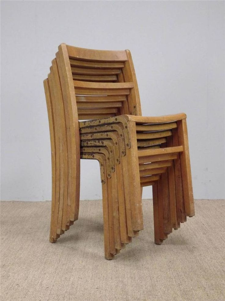 Vintage Industrial Wooden Stacking Cafe Bar Chairs *20 AVAILABLE* (inc VAT)